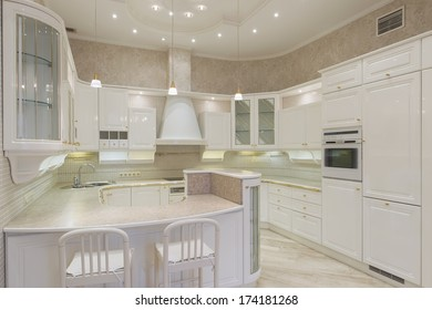 New white luxury kitchen in a modern home