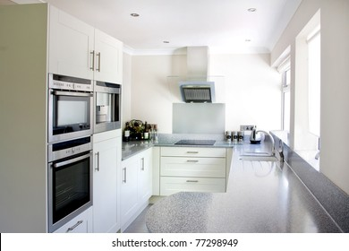 new white modern kitchen and stainless steel appliances