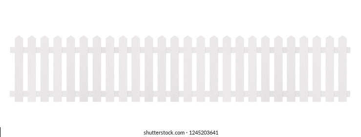 New white wooden fence isolated on white background with clipping path