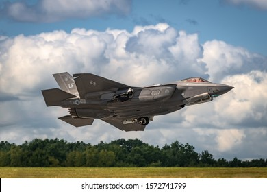 NEW WINDSOR, NY - AUGUST 2, 2019: The Lockheed Martin F-35 Lightning II from Stewart International Airport during the New York Airshow.