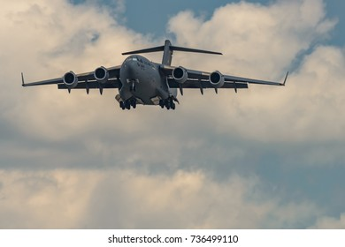 NEW WINDSOR, NY - JULY 2, 2017: Giant C-17 Globemaster III taking off at Stewart International Airport during the New York Airshow.