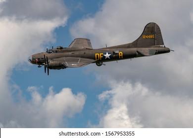 NEW WINDSOR NY - SEPTEMBER 15 2018: World War II era Boeing B-17 Flying Fortress bomber aircraft the Memphis Belle