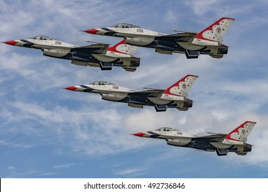 NEW WINDSOR, NY - SEPTEMBER 3, 2016: USAF Thunderbirds perform at the Stewart International Airport during the New York Airshow. Squadron is the air demonstration team for the United States Air Force