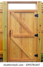 New wood fence gate door.