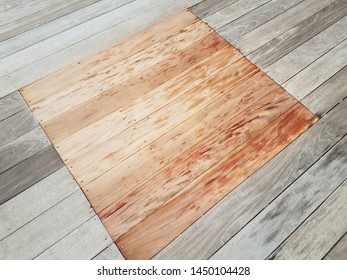 new wood square and old wood on ground