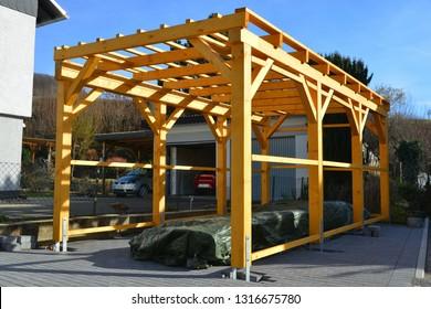 New wooden Carport