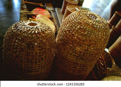 New wooden coops made from bamboo weaving  are sold in the local market use for chicken or duck quarantine