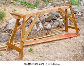 new wooden device sawhorse for cutting stack of wooden logs