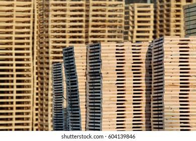 new wooden pallets on factory  backyard