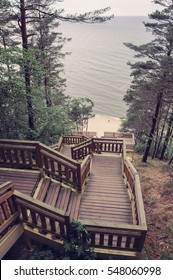 new wooden stairs leading to the beach