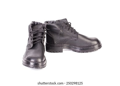 New work black leather boots isolated on white background