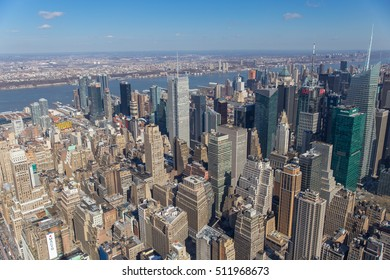 New Work City, USA - March 1st, 2016: View from a skyscraper over Manhattan on a sunny day.