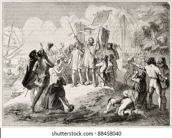 New world discovery by Christopher Columbus. Created by Colin, published on Magasin Pittoresque, Paris, 1844