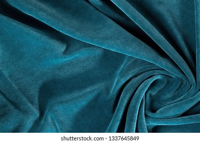 new wrinkled textile fabric dark turquoise color