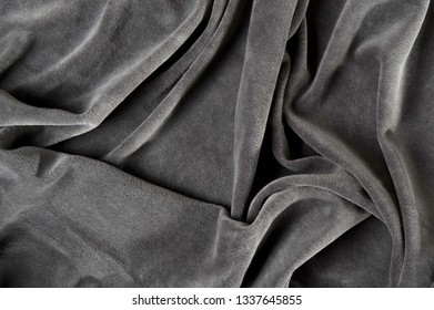 new wrinkled textile fabric gray color