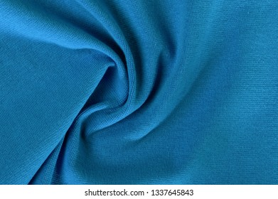 new wrinkled textile fabric turquoise color