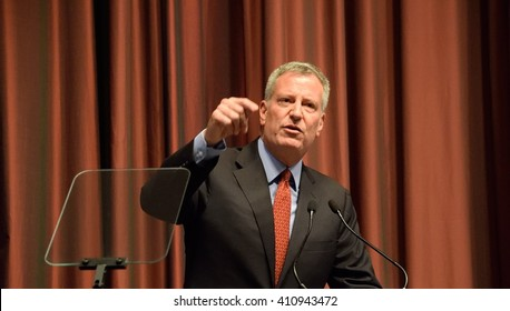NEW Y ORK, USA - APRIL 13, 2016: Mayor Bill DeBlasio gestures during a speech at the National Action Network 25th annual convention.
