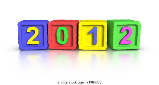 New year 2012 made with 3D plasticine material Cubes.