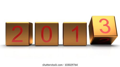 New year 2012-2013 changing. Golden cube