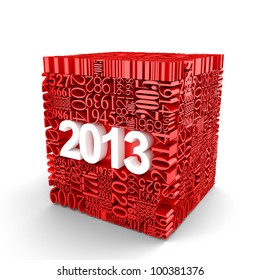 New year 2013. Cube of many year numbers
