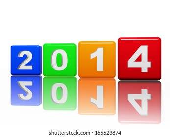 new year 2014 in 3d pied cubes with white figures, holiday concept