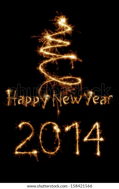 New year 2014 card written with sparkles