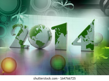 new year 2014 globe on colour background