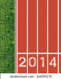 New Year 2014 on running track from top view