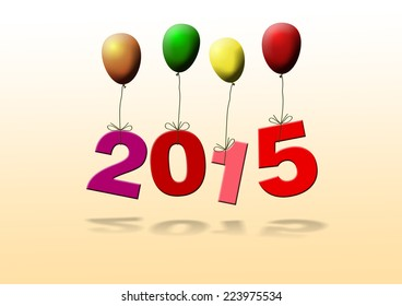 new year 2015 with colorful balloons