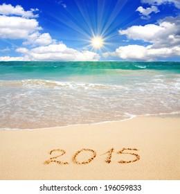 New Year 2015 on a Caribbean beach.