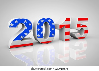 New Year 2015 Sign as USA Flag on a grey background