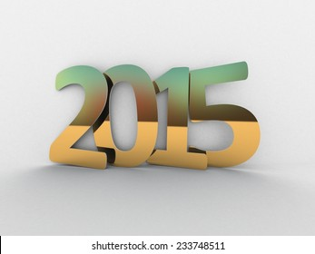 New year 2015 text 3D on white background