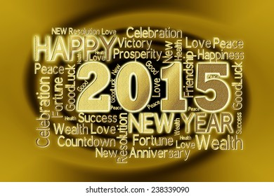 new year 2015 word cloud over twirl background effect