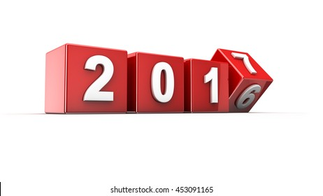 New year 2016 to 2017 concept in 3d