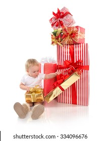 New year 2016 concept child baby toddler kid with Christmas present gift for celebration isolated on a white background
