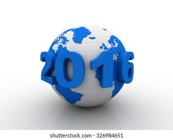 New year 2016 with globe, 3d render