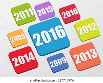 new year 2016 and previous years in 3d flat colored tablets, business holiday concept