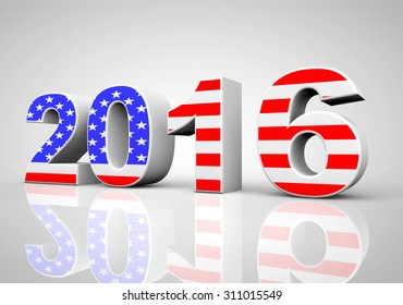 New Year 2016 Sign as USA Flag on a grey background