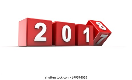 New year 2017 to 2018 concept in 3d