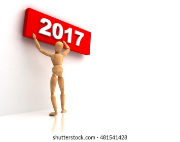 New Year 2017 3D rendering