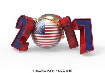 new year 2017 colored America flag 3d modeling