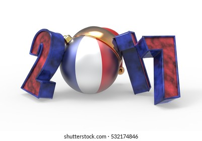new year 2017 colored France flag 3d modeling