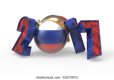 new year 2017 colored Russia flag 3d modeling