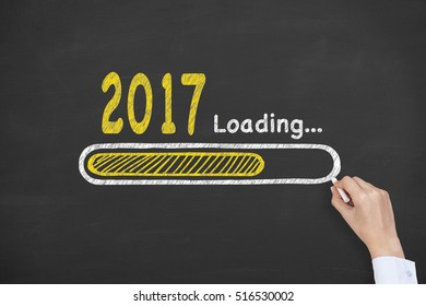 New Year 2017 Loading Technology on Chalkboard