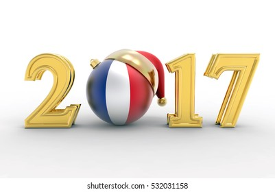 new year 2017 with merry Christmas ball and France flag 3d illustration