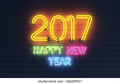New Year 2017. Neon shapes with lights. 3d rendering.