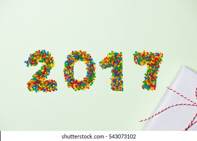 New Year 2017 in shape of candy. Year number like holiday candies.