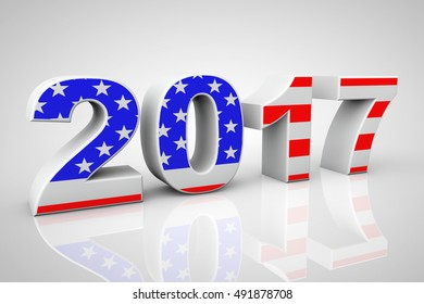 New Year 2017 Sign as USA Flag on a grey background. 3d Rendering