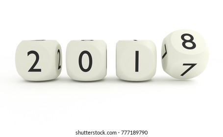 New year 2017/2018 3D render with rotating number 7 to 8