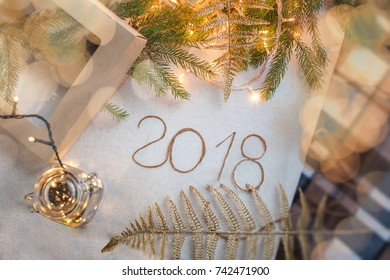 New Year 2018 background, New Year 2018 composition. Top view, of New Year 2018 festive still life